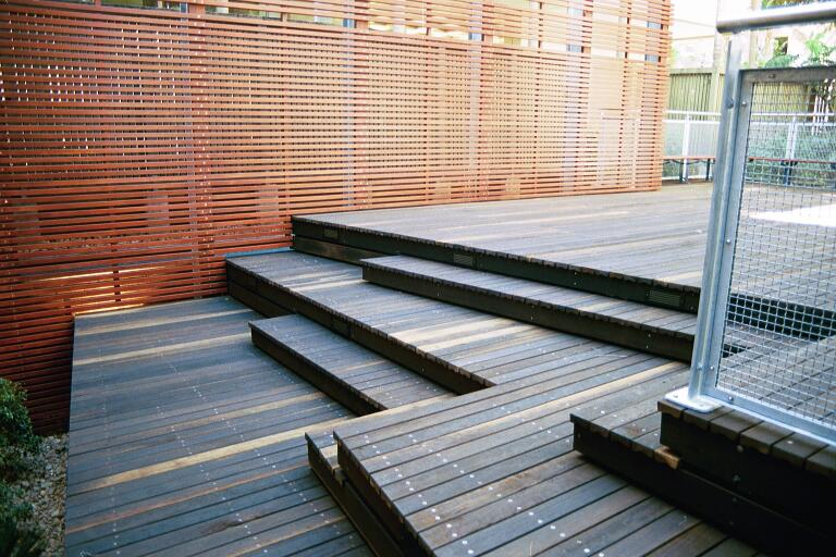 QUT Deck and Wall Timber Project Gallery - Outdoor Structures Australia